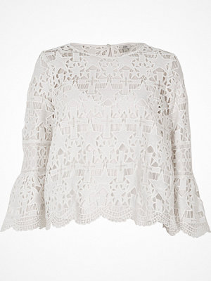 Blusar - River Island White star lace bell sleeve top