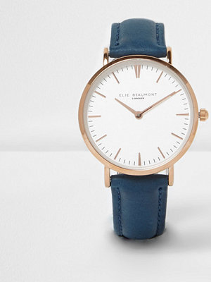 Klockor - River Island Blue Elie Beaumont leather strap watch
