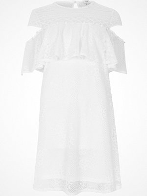 River Island White lace cut out sleeve dress
