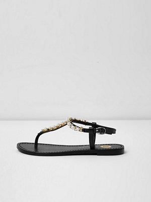 River Island Black diamante embellished leather sandals