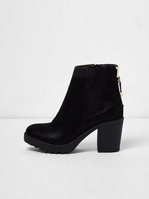 River Island Black zip back heeled boots