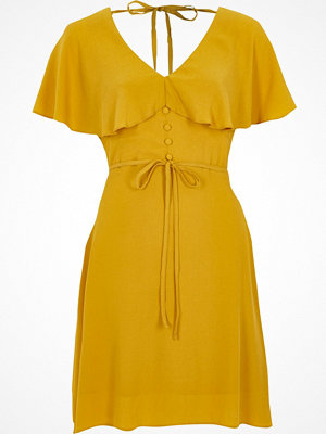 River Island River Island Womens Dark Yellow cape tea dress