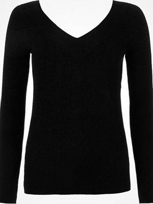 River Island Black rib knit V neck top