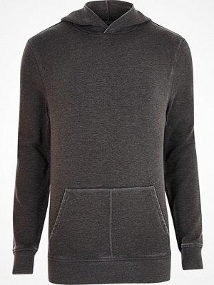 River Island Dark Grey burnout long sleeve hoodie