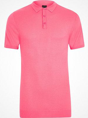 Pikétröjor - River Island River Island Mens Pink mesh knit slim fit polo shirt
