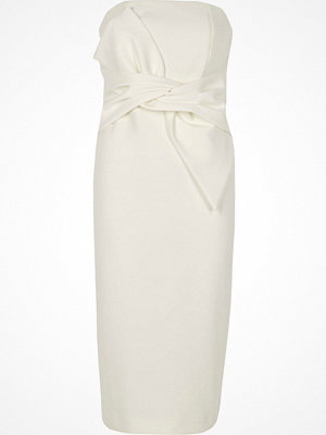River Island White bow front bandeau bodycon dress