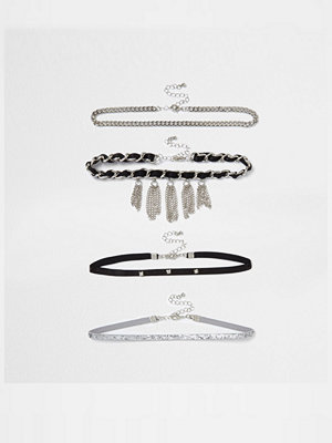 Chokers - River Island River Island Womens Black tassel trim multi row choker set