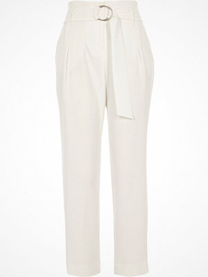 River Island White high waisted ring belt tapered trousers