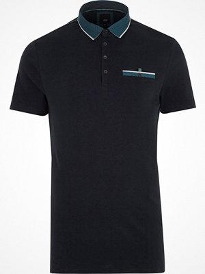 Pikétröjor - River Island River Island Mens Navy geo print collar slim fit polo shirt