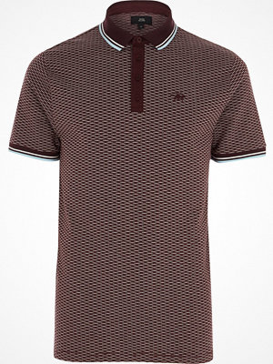 River Island Red jacquard tipped slim fit polo shirt