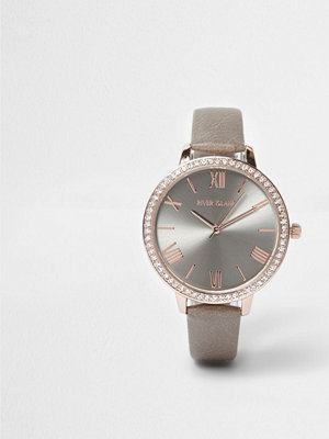 Klockor - River Island Grey and rose gold tone diamante face watch