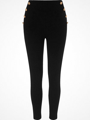 Leggings & tights - River Island Black button side ponte leggings