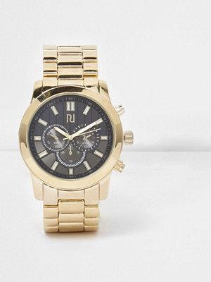 Klockor - River Island Gold tone chain link strap black face watch