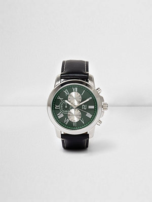 Klockor - River Island Black leather look strap green face watch