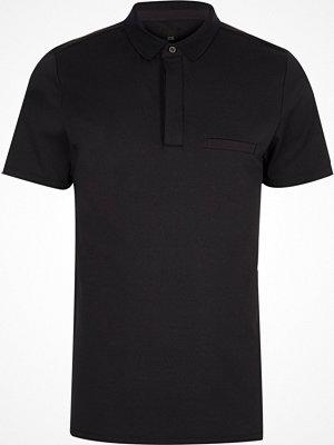 Pikétröjor - River Island River Island Mens Navy slim fit short sleeve polo shirt