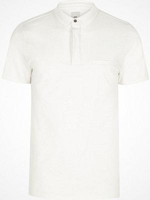 Pikétröjor - River Island River Island Mens Cream slim fit short sleeve polo shirt