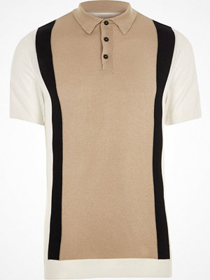 Pikétröjor - River Island River Island Mens Big and Tall Cream blocked knitted polo shirt