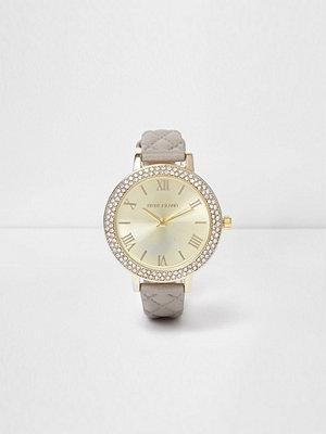Klockor - River Island Grey quilted diamante encrusted watch