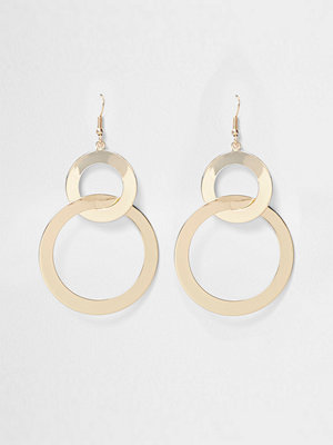 River Island örhängen Gold tone double hoop link earrings