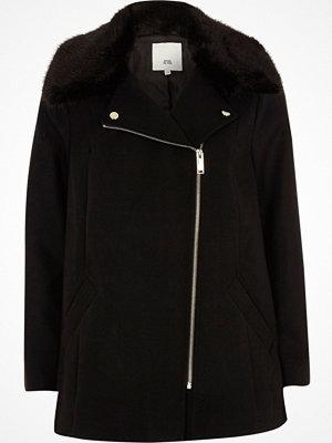 River Island River Island Womens Petite Black faux fur trim biker collar coat