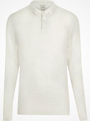 Pikétröjor - River Island River Island Mens Big and Tall Cream knitted polo shirt