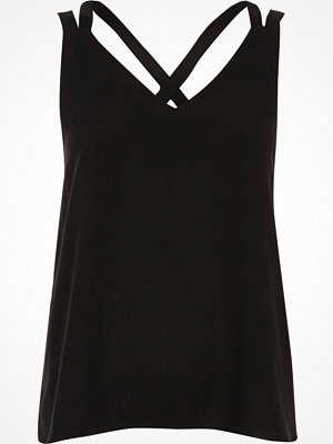 River Island Petite Black cross back double strap cami top