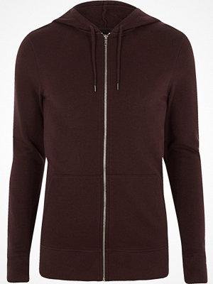 Street & luvtröjor - River Island Dark purple muscle fit zip up hoodie