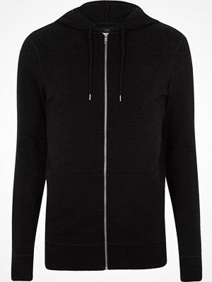 Street & luvtröjor - River Island Black muscle fit zip up hoodie