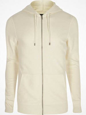 Street & luvtröjor - River Island White muscle fit zip up hoodie