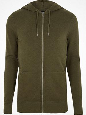 Street & luvtröjor - River Island Khaki green muscle fit zip up hoodie