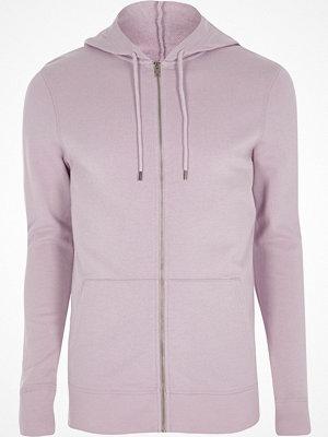 Street & luvtröjor - River Island Light purple muscle fit zip up hoodie
