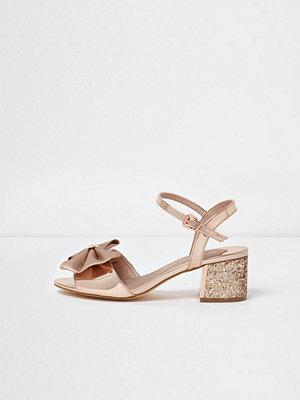 Sandaler & sandaletter - River Island River Island Womens Gold bow wide fit glitter block heel sandals