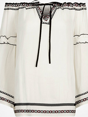 River Island White embroidered bardot smock top