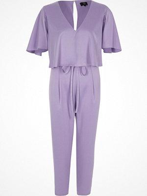 Jumpsuits & playsuits - River Island Light purple satin cape tapered jumpsuit