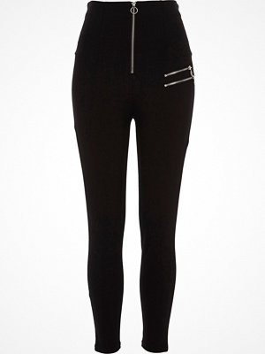 Leggings & tights - River Island Black high waisted zip detail leggings