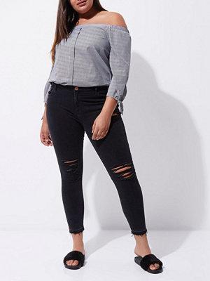 River Island Plus Black Amelie ripped super skinny jeans