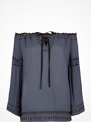 River Island Blue embroidered bardot smock top