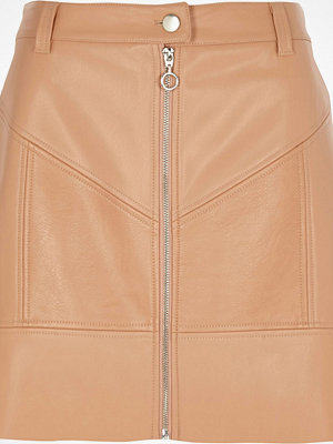River Island Beige faux leather zip front mini skirt