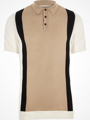Pikétröjor - River Island River Island Mens Cream knit blocked slim fit polo shirt