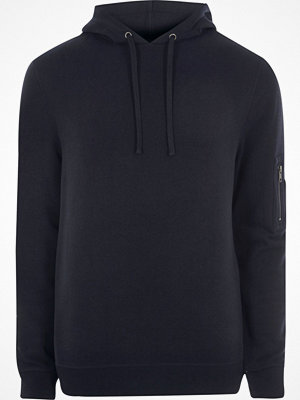 Street & luvtröjor - River Island Navy zip sleeve hoodie