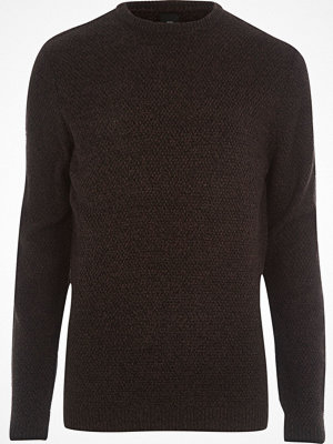 Tröjor & cardigans - River Island Black textured knit slim fit jumper
