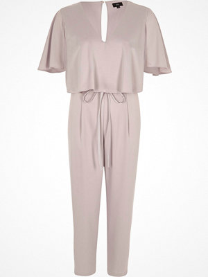 Jumpsuits & playsuits - River Island Light grey satin cape tapered jumpsuit