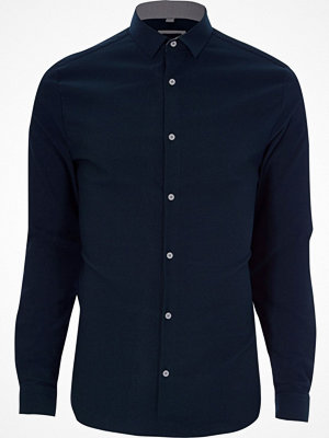 Skjortor - River Island Navy textured skinny fit shirt
