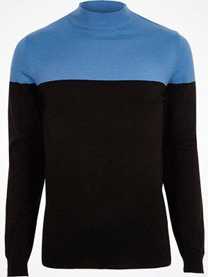 Tröjor & cardigans - River Island Blue block colour turtle neck slim fit jumper