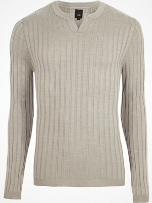 Tröjor & cardigans - River Island Grey ribbed notch neck long sleeve jumper