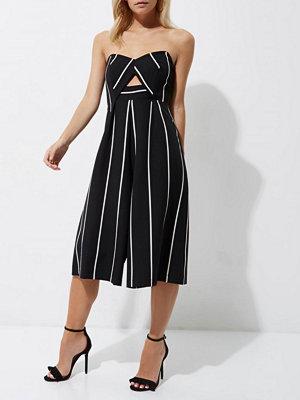Jumpsuits & playsuits - River Island Petite black stripe bandeau culotte jumpsuit