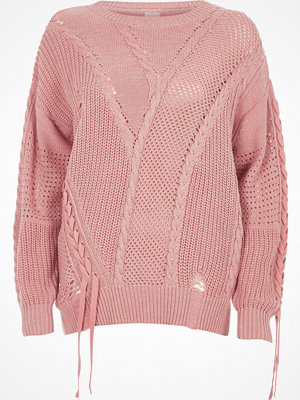 River Island River Island Womens Light Pink ladder knitted tie detail jumper