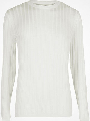 Tröjor & cardigans - River Island Big and Tall white ribbed crew neck jumper