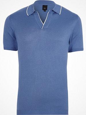 Pikétröjor - River Island River Island Mens Blue tipped notch V neck polo shirt