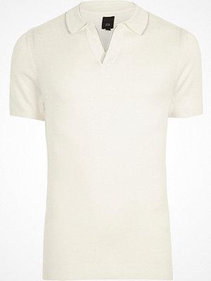 Pikétröjor - River Island Cream notch V neck polo shirt